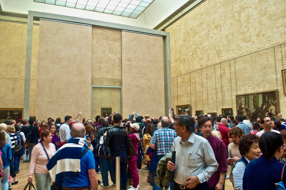 The crowd of people around the Mona Lisa