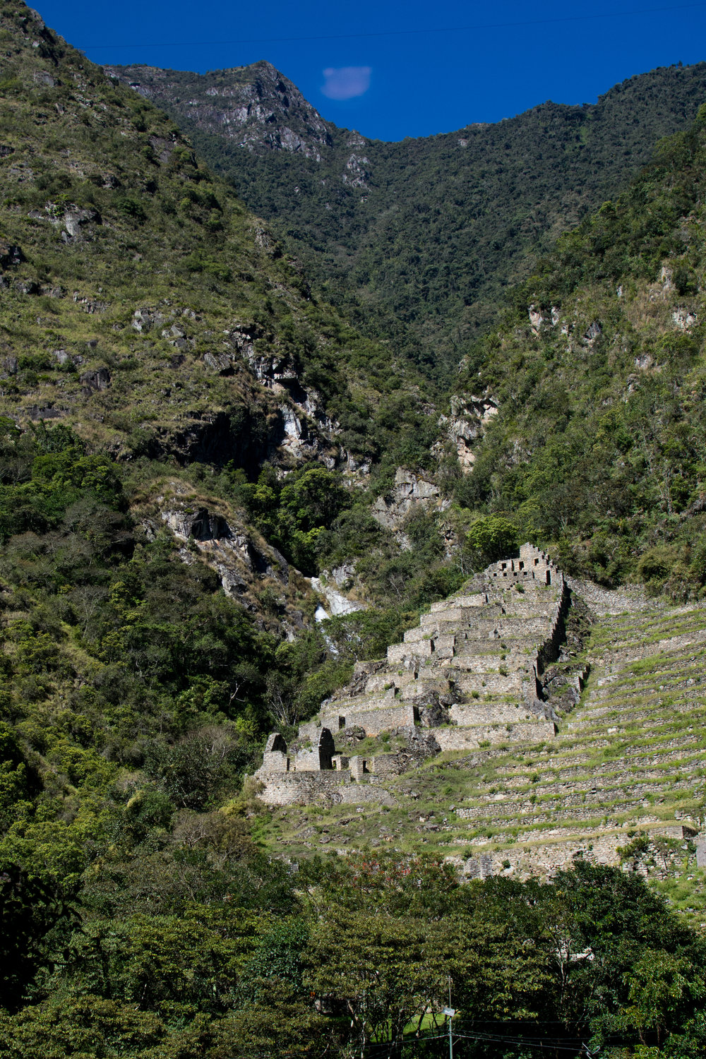 View of Inca Ruins from Train to Machu Picchu