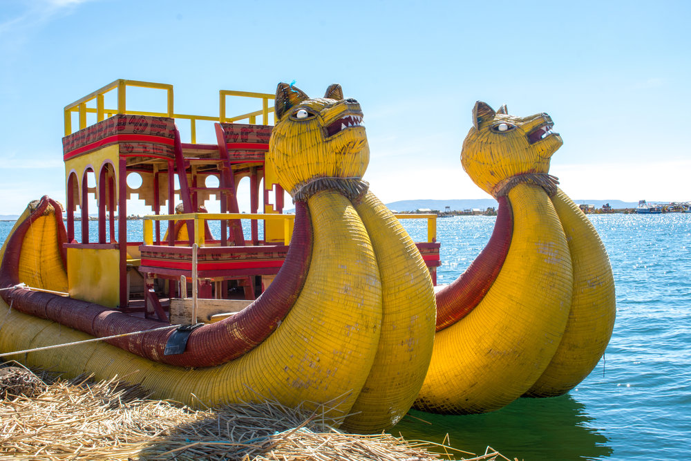 Boat from the Floating Islands of Uros in Lake Titicaca