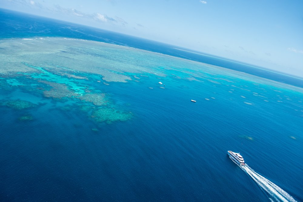 Helicopter over the Great Barrier Reef – Tropical North Queensland, Australia