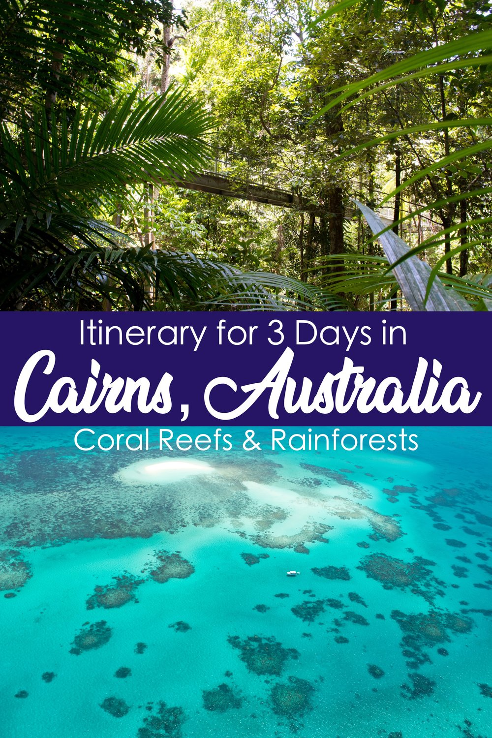 Itinerary for 3 Days in Cairns, Australia: Coral Reefs and Rainforests.  Cairns is the gateway to both the Great Barrier Reef and the Daintree Rainforest. #Cairns #Australia #Queensland  #TropicalNorth