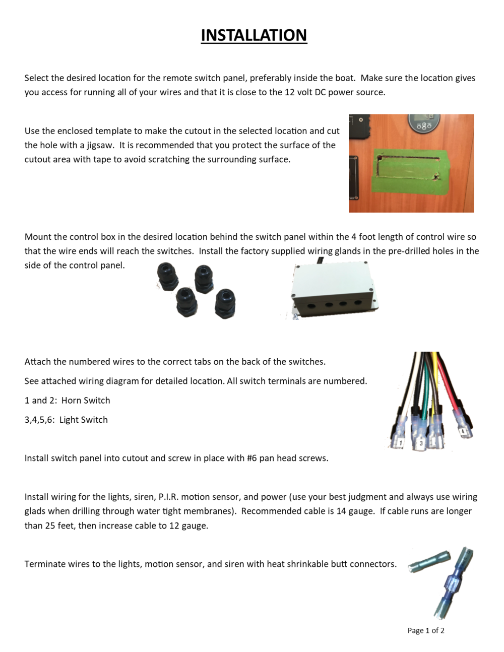 Installation Instructions For Pirate Lights 14 Gauge Wiring Diagram Page One