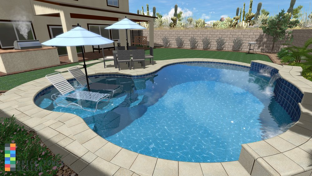 This is a 3D rendering that shows how your finished yard will look. This rendering matches the previous 2D construction plan.