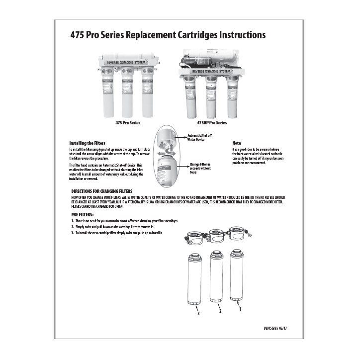 475QC Filter Replacement Instructions