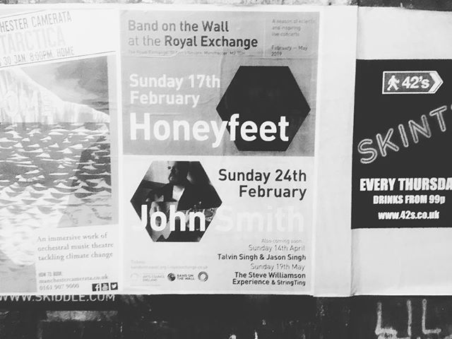 Posters in the Wall @bandonthewall can't wait for our uniquely in the round show at @rxtheatre February 17th tickets available via our website #manchestermusic #honeyfeet #royalexchangetheatre