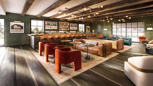 The MacArthur Place Bar strikes a modern rustic lounge vibe in the much anticipated re-opening of this Sonoma hotel.  #interiordesign #interiordecor #hospitality #hospitalitydesign #rusticdecor #modernfarmhouse #sonoma #lounge #bar #hotel