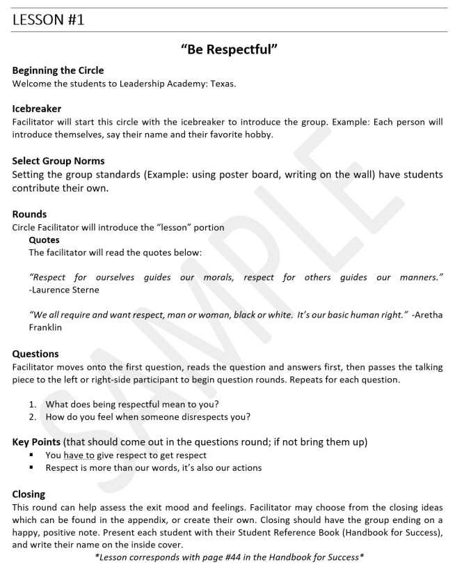 A sample lesson from our Instructor's Manual: - There are 16 lessons in this character based curriculum, and during the