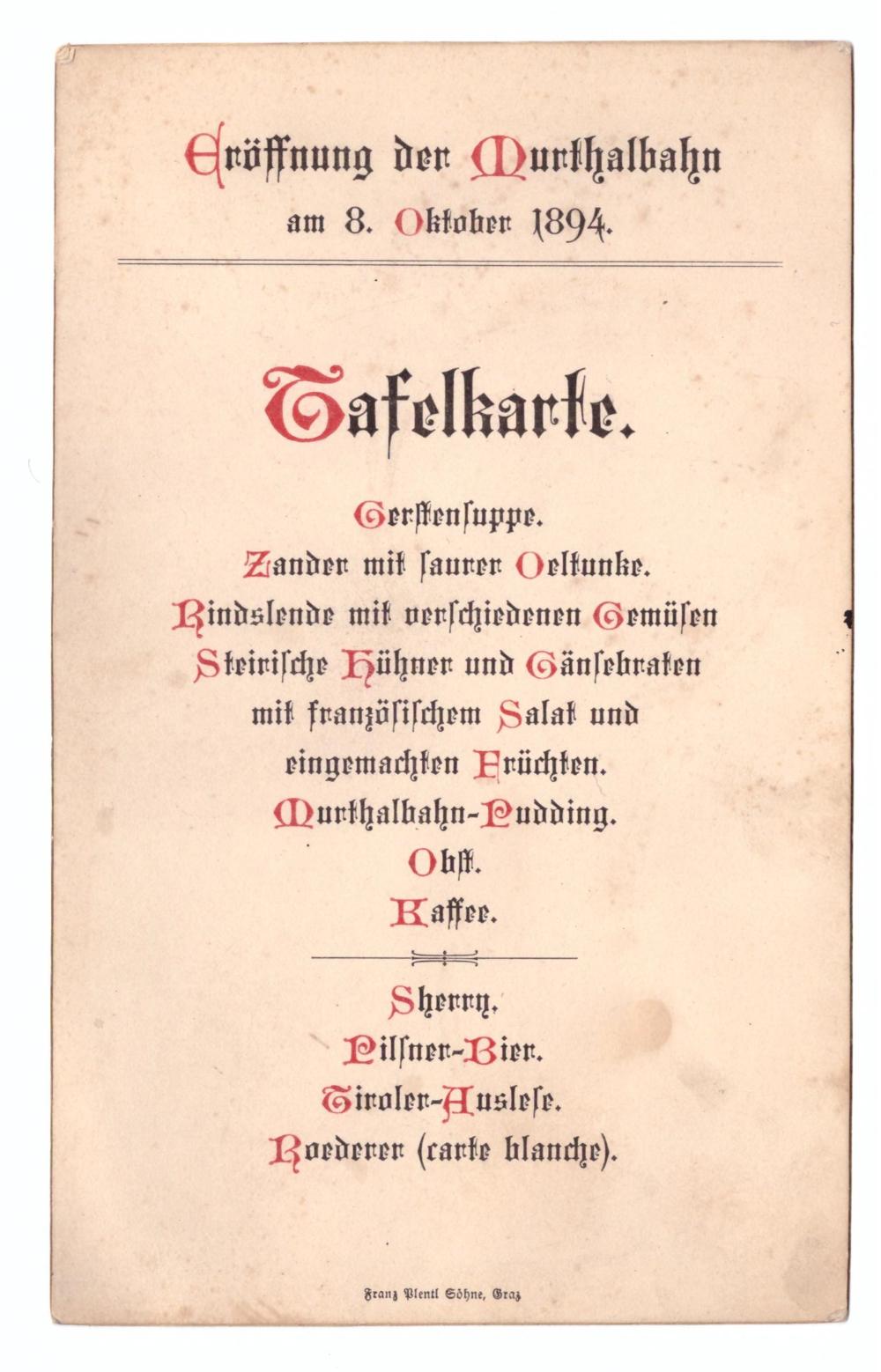 """Ernst - statt """"Henry im Zug"""" - die Karte des Caterings zur Eröffnung der Murthalbahn"""