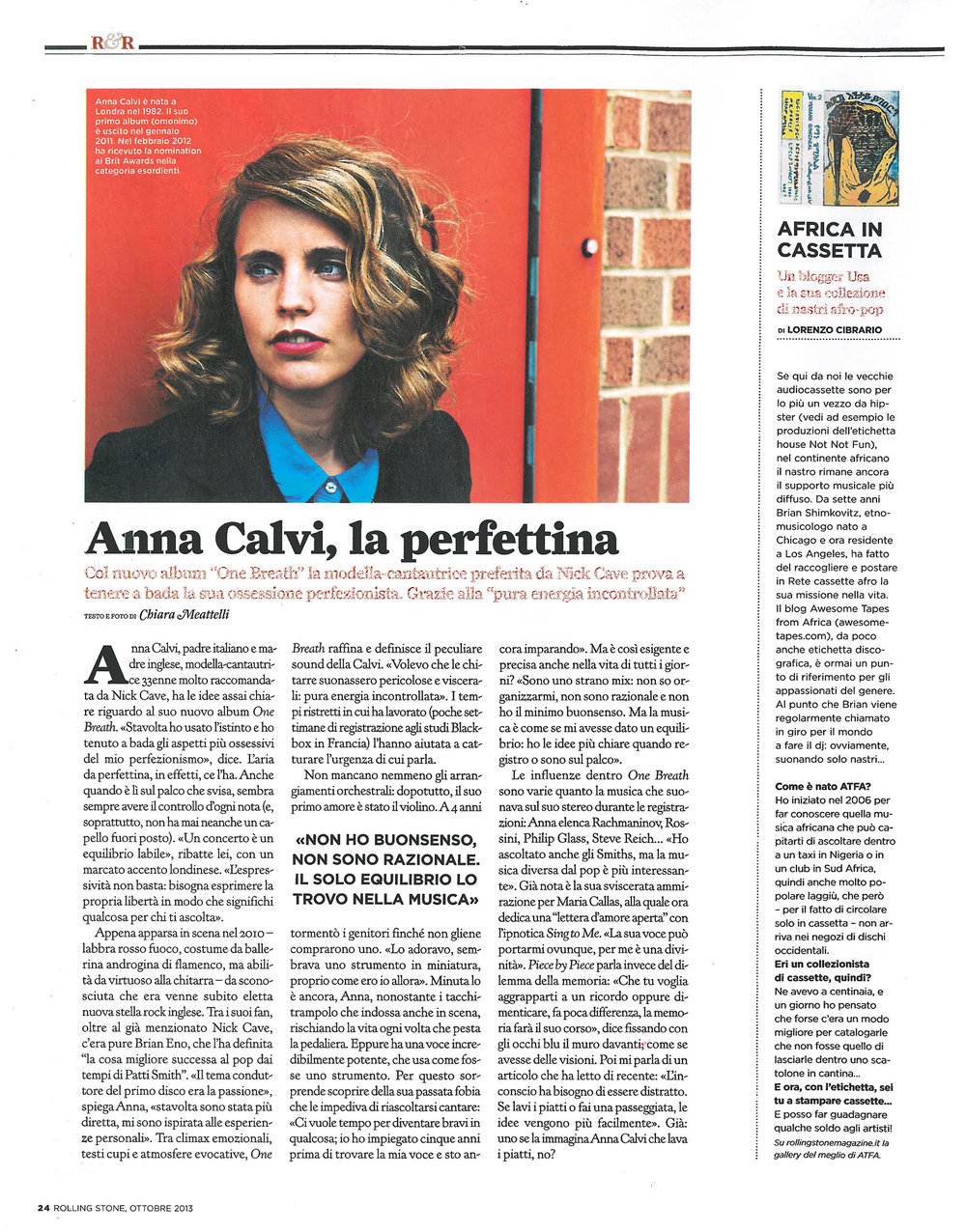 Rolling Stone magazine: Anna Calvi interview & photo