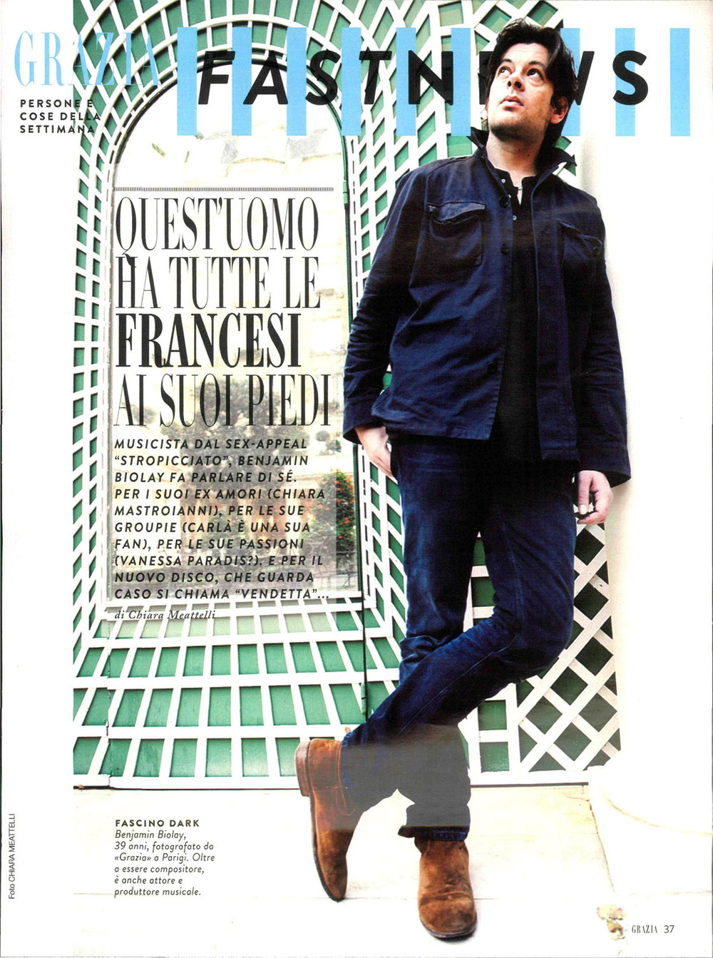 Grazia: Benjamin Biolay interview & photo
