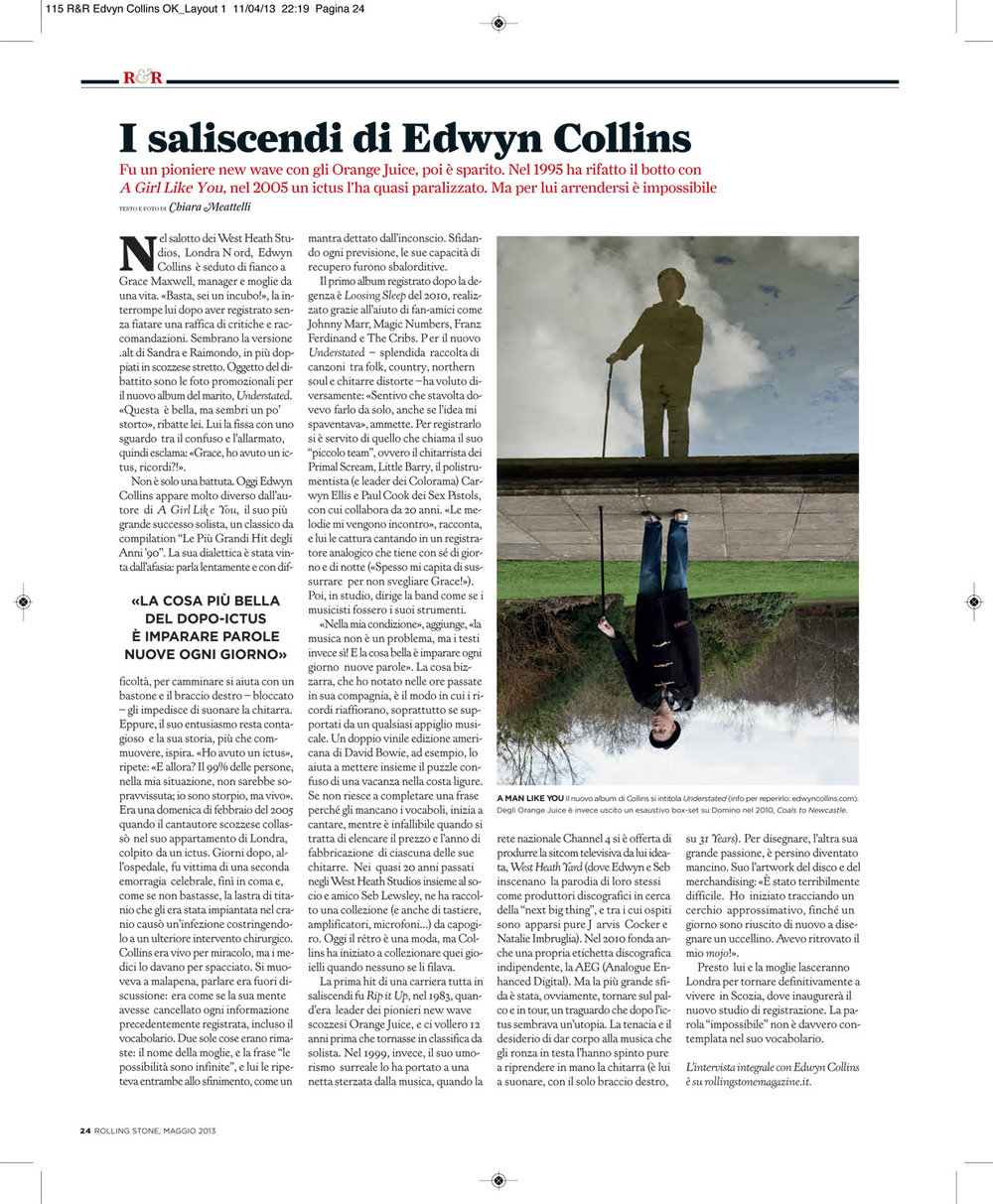 Rolling Stone magazine: Edwyn Collins interview & photo