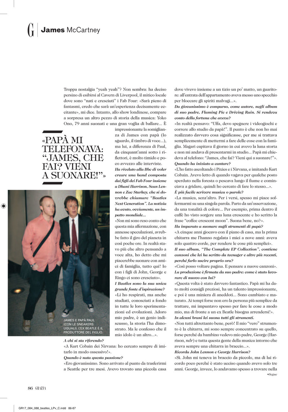 Grazia: James McCartney interview