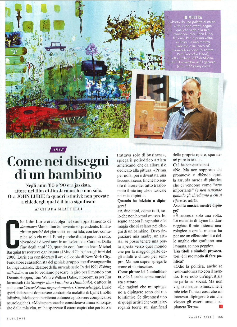 Vanity Fair: John Lurie interview & photo