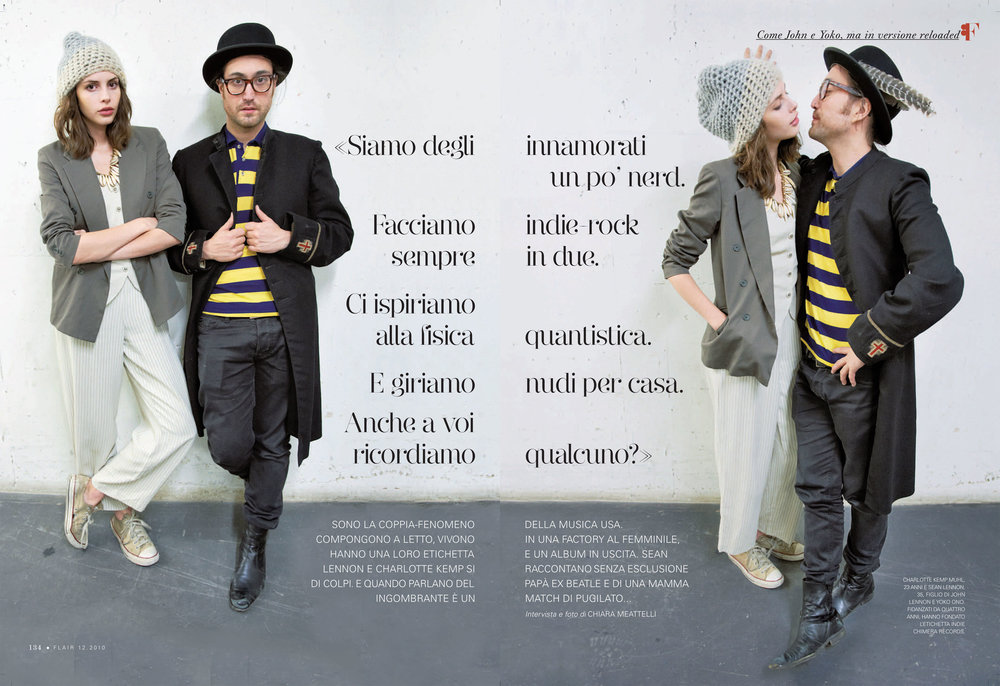 Flair magazine: Sean Lennon & Charlotte Kemp Muhl  photo & interview