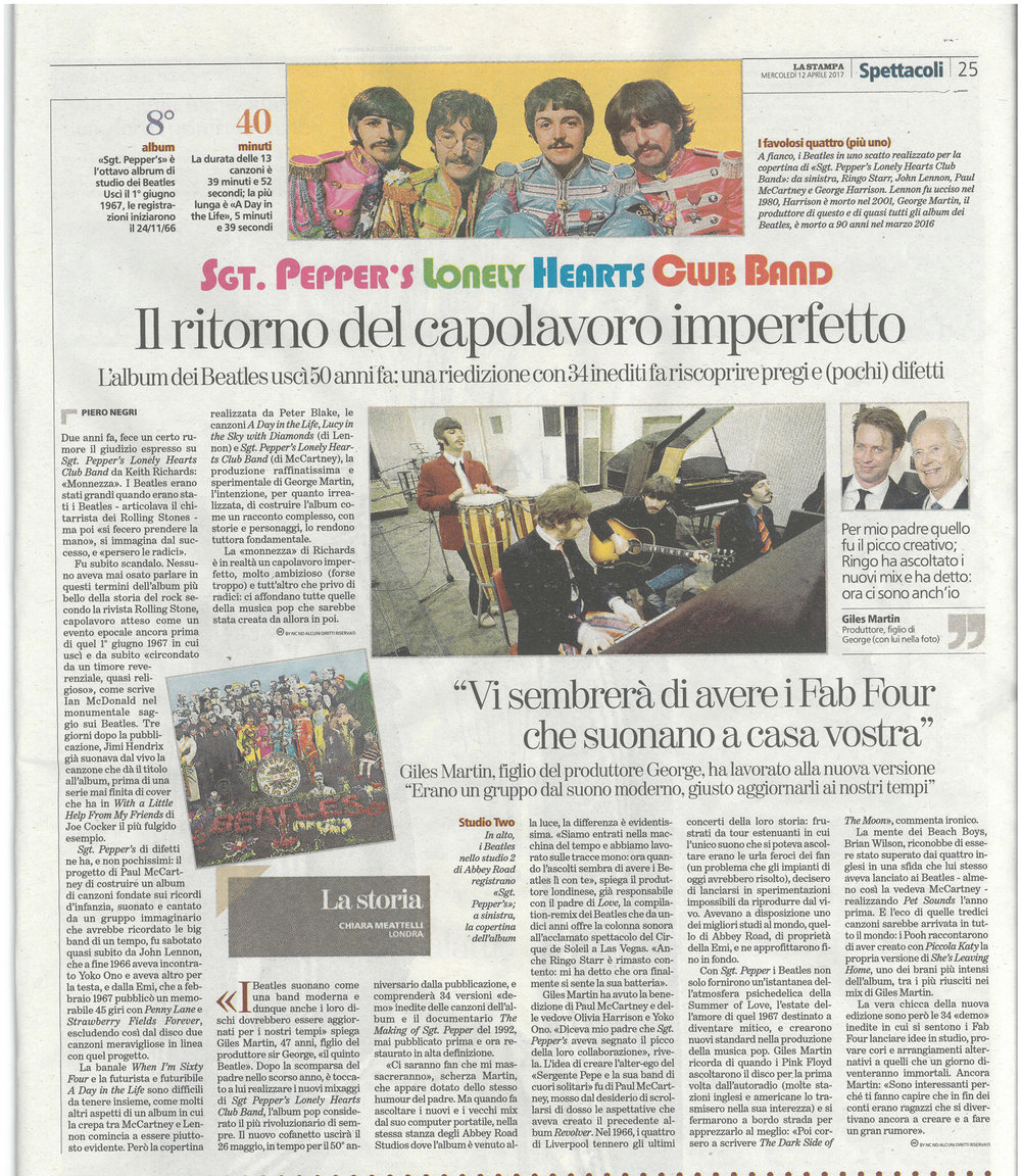 La Stampa: Abbey Road Sgt. Pepper's listening session