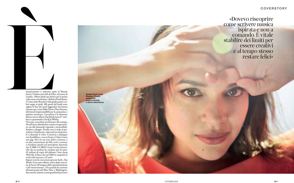 """D"" La Repubblica: Norah Jones interview, cover story"