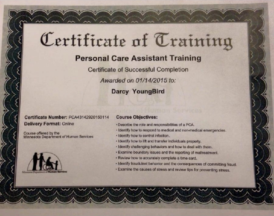 Darcy's PCA Training Certification