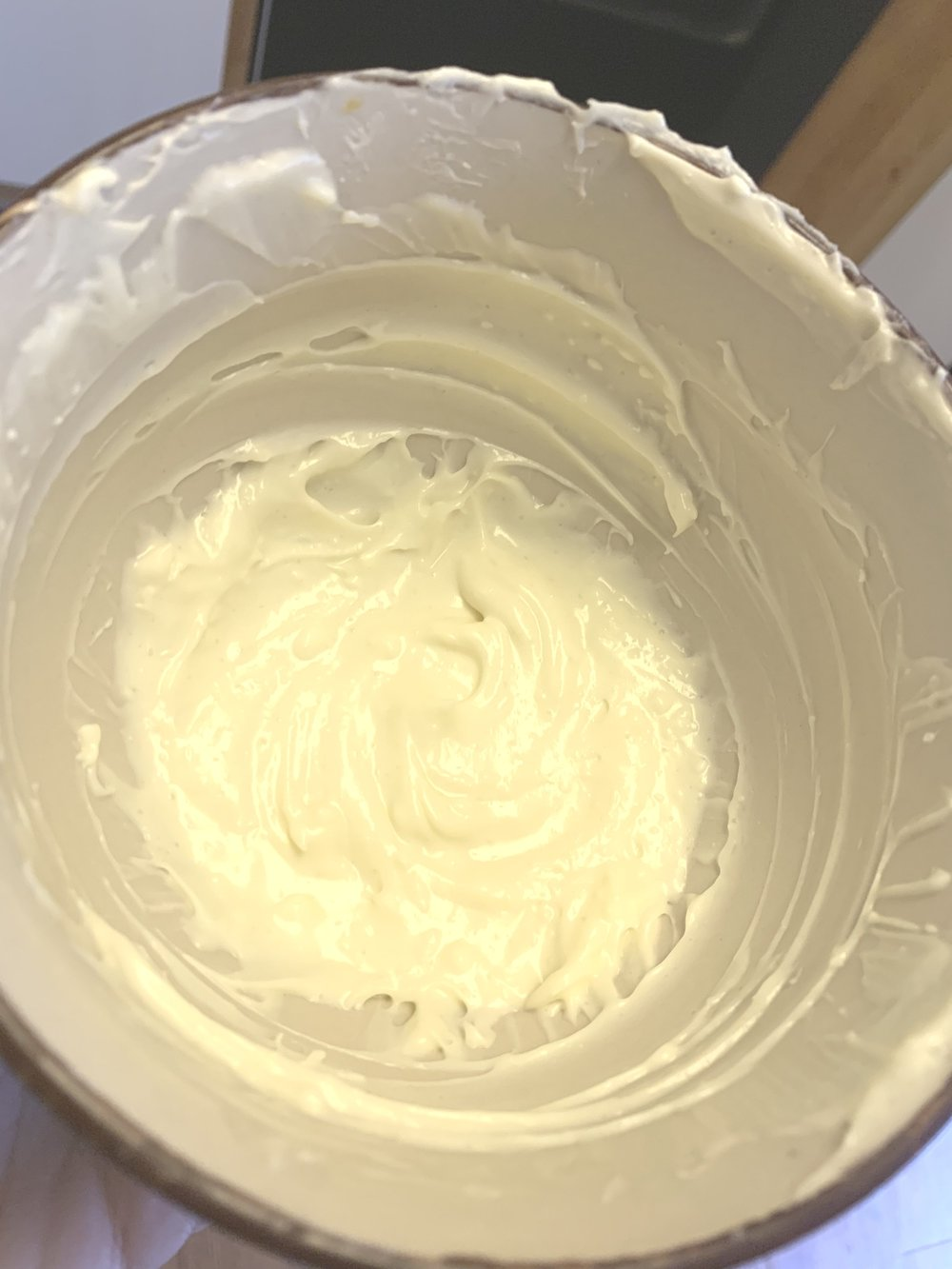 8.While they are baking, combine cream cheese, Truvia, vanilla (optional), and heavy whipping cream together until smooth. -