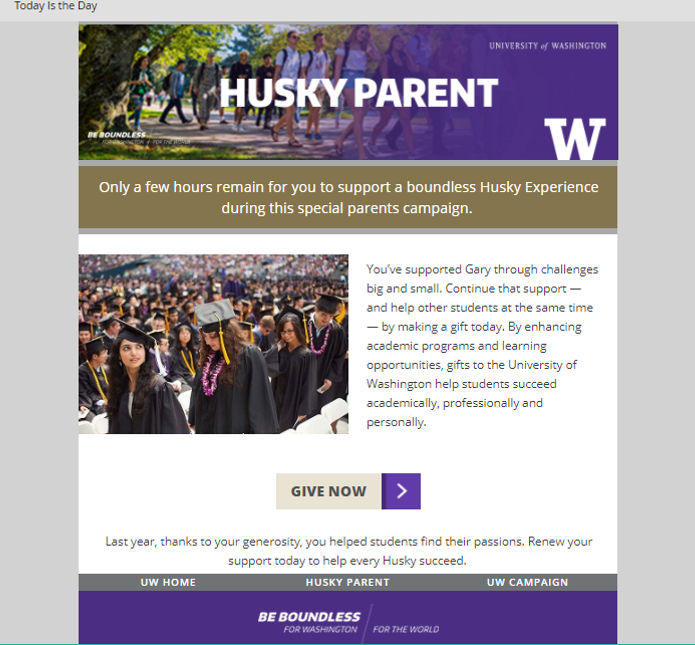 Example from the Husky Parents email marketing campaign ran through Marketo