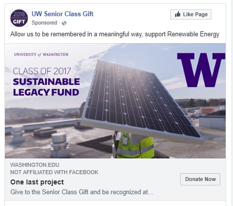 Paid social media campaign for the University of Washington Senior Class Gift