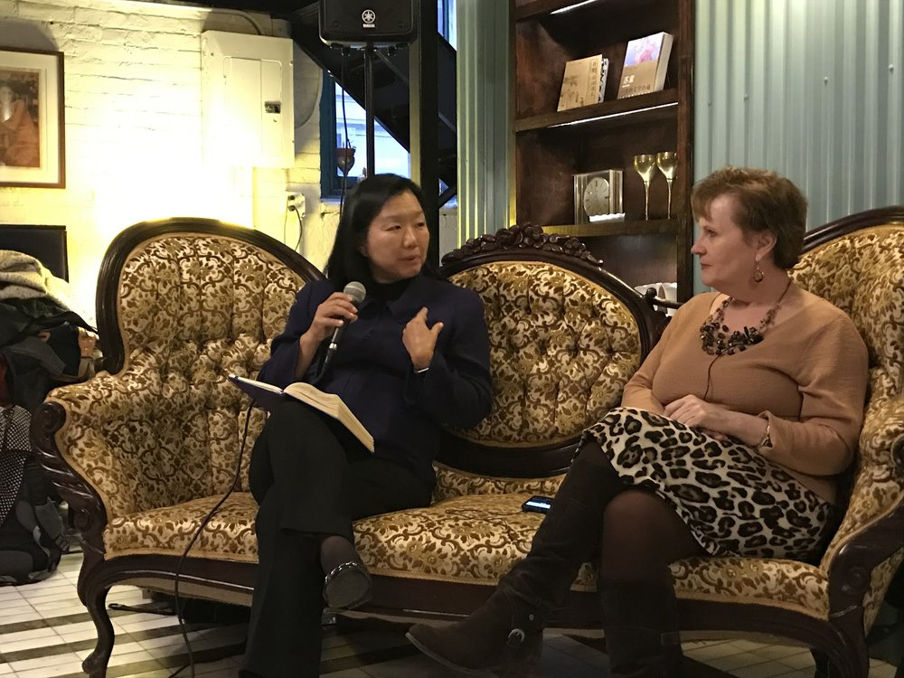 - Geri speaking with LEAP President and CEO Linda Akutagawa at LEAP's Emerging Leadership Program for Nonprofit Professionals Program graduation. This program is for mid-senior level API nonprofit staff.
