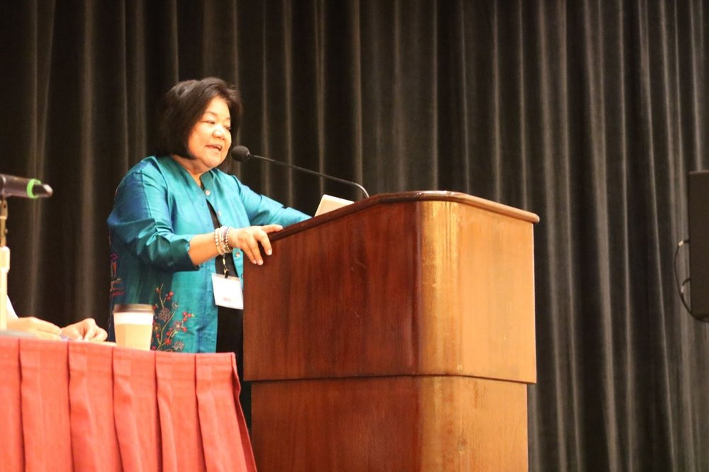 - Dr. Neilson speaking at the Asian Pacific Americans in Higher Education (APAHE) conference, following her graduation from LEAP's LDPHE program.