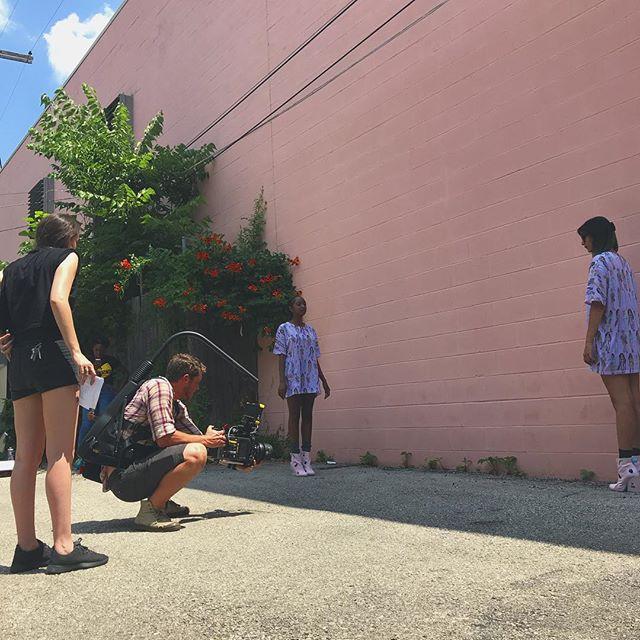 Directing the next shot. @feral_black_cat  #documentary #alexamini #pink #shortfilm