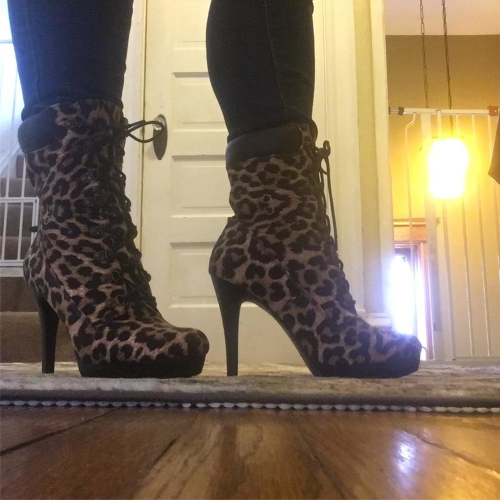 Leopard in the house. Cute booties from Shoedazzle. They paired great with distressed denim jeans and my green army jacket.    Check out my shoe collection on  Instagram!