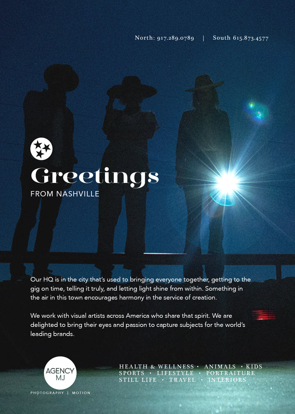 Greetings from Nashville.  Our HQ is in the city that's used to bringing everyone together, getting to the gig on time, telling it truly, and letting light shine from within. Something in the air in this town encourages harmony in the service of creation.  We work with visual artists across America who share that spirit. We are delighted to bring their eyes and passion to capture subjects for the world's leading brands.