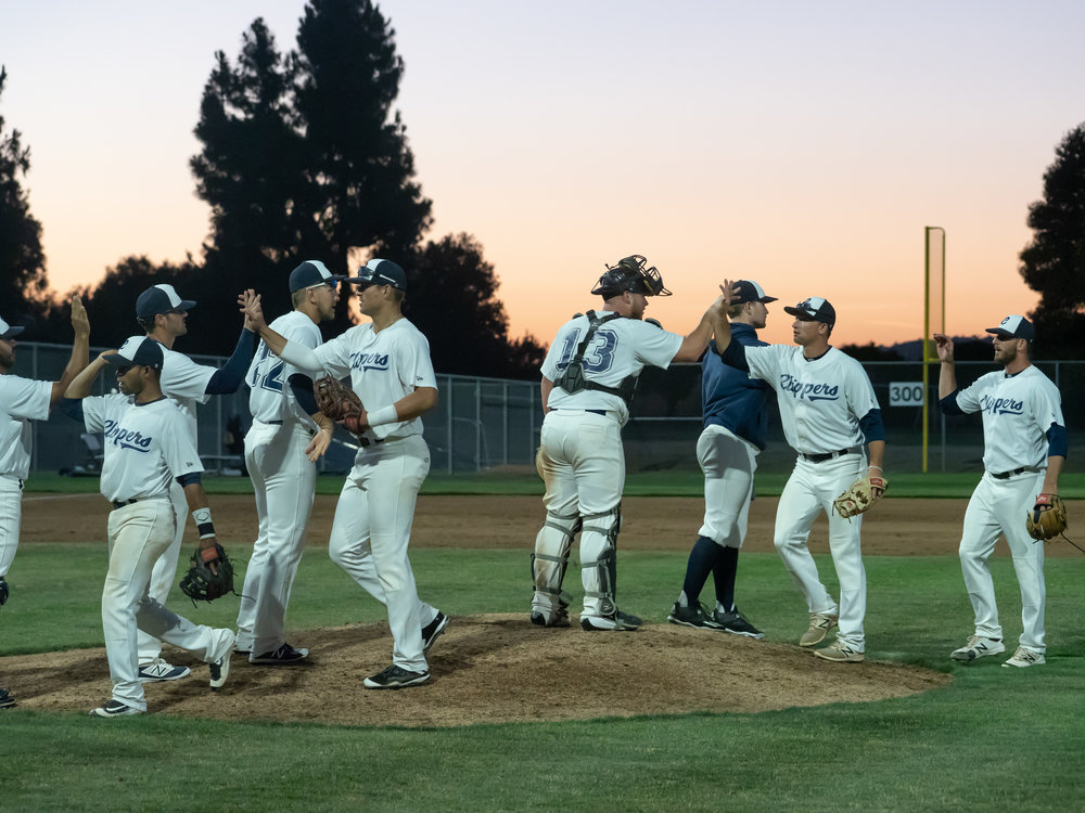 The Clippers celebrate after their seventh win of the season.  Photo: M C Hunt