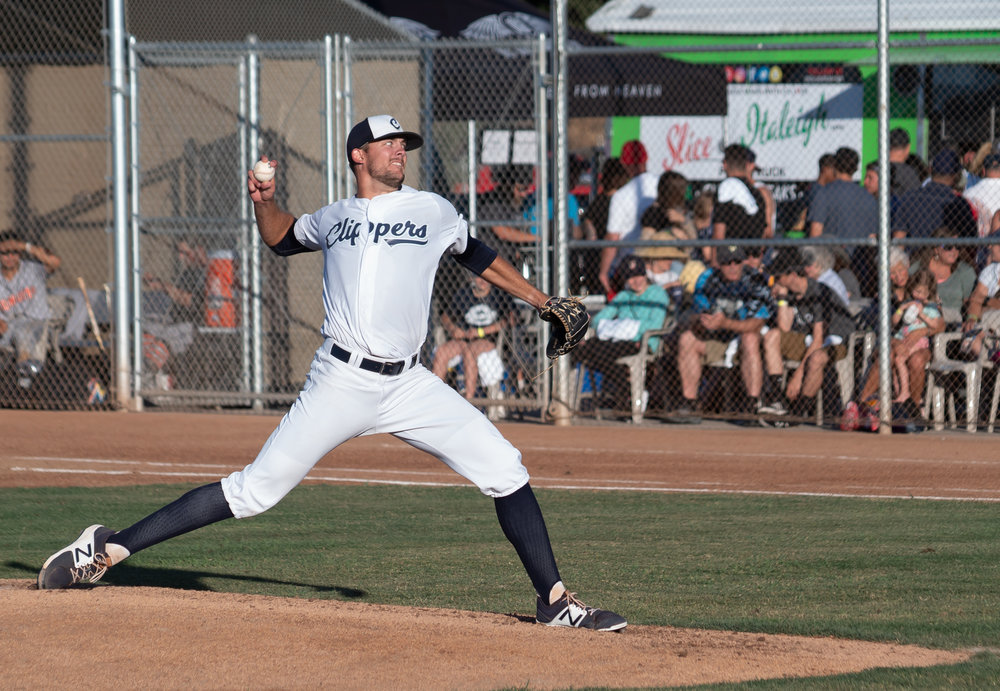 Logan Campbell delivers a pitch in Saturday's 7-2 loss to the Sonoma Stompers in Martinez.  M C Hunt