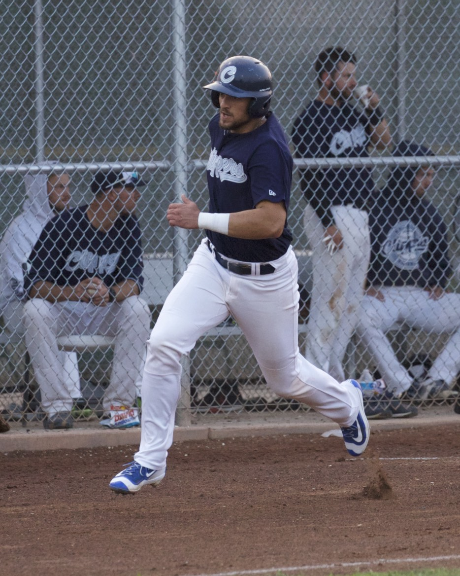 Nathan Etheridge rounds first base, en route to extra bases - he would have a grand slam before all was said and done on a long Friday night for the Pacifics.  Mark Fierner | Martinez News-Gazette