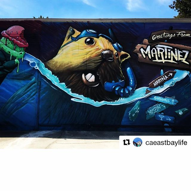 Repost @caeastbaylife. This artwork in Martinez is awesome! I love the beaver. Possible mascot idea?🤔 stay tuned clipper fans! #martinez #marina #bayareaart #beavers