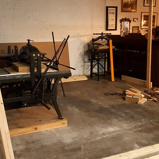Pegboard Press has been going a move and major renovations! We're relocated to a larger space at Gathered Glassblowing Studio and will be sharing a space with Black Iron Press, a vintage letterpress studio. More updates soon!