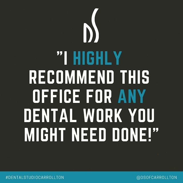 "⭐️⭐️⭐️⭐️⭐️ ""Dental Studio is great! Wonderful atmosphere and customer service! They always take the time to work with me and make sure I understand everything. Janet, Paige, and Renata are amazing! I highly recommend this office for any dental work you might need done!"" - Kellen⁣⁣ ⁣⁣ Thank you for sharing your #carrolltondentist experience with us, Kellen! We love serving #carrolltontx! ⁣ ⁣ #carrolltondentist #lewisvilledentist #northtexasdentist #carrolltonsleepspecialists #carrolltonwhitening #dfwsleepapnea"
