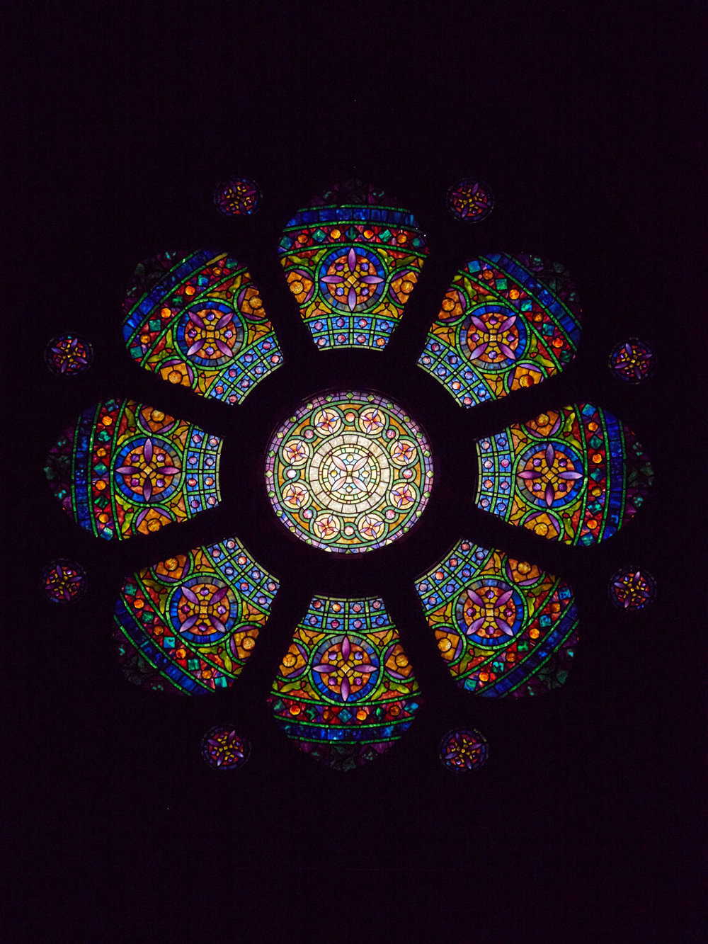 Tiffany Studios, Baird Ornamental Rose Window, 1914
