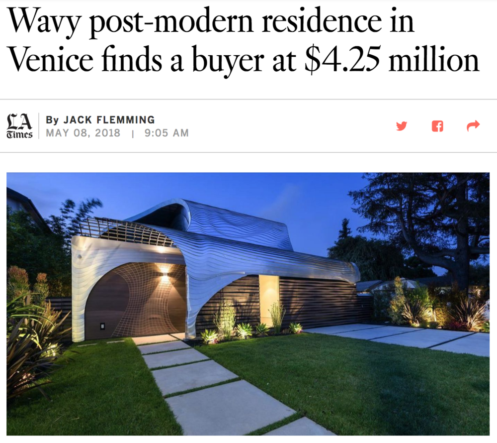 Venice Real Estate for Sale | Venice CA | Venice Los Angeles | Wavy post-modern residence in Venice finds a buyer at $4.25 million.png