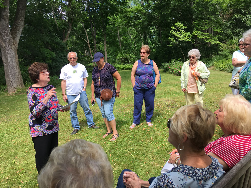 On a beautiful June day, Emerson House Director Marie Gordinier talks to the Friends of the Pike County Library from Pennsylvania.