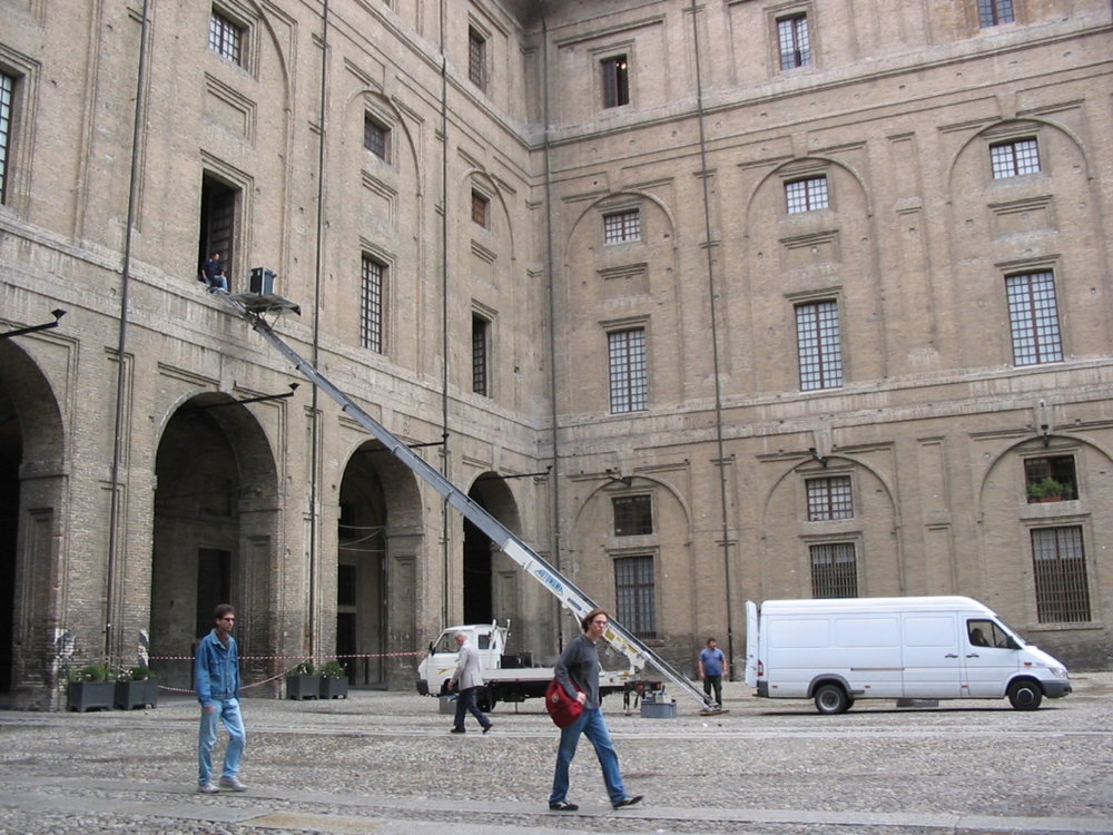 Loading sound system, Teatro Farnese, Parma, 2004