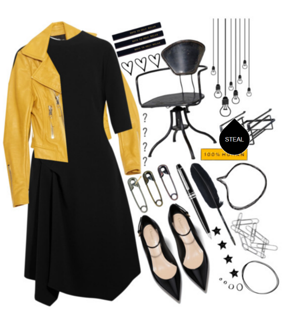 Leather jacket. Solid cotton or polyester dress. Black heels. Simple jewelry. Don't overdo it – a leather jacket is a statement on its own so don't try too hard. This look is an easy one to rock!