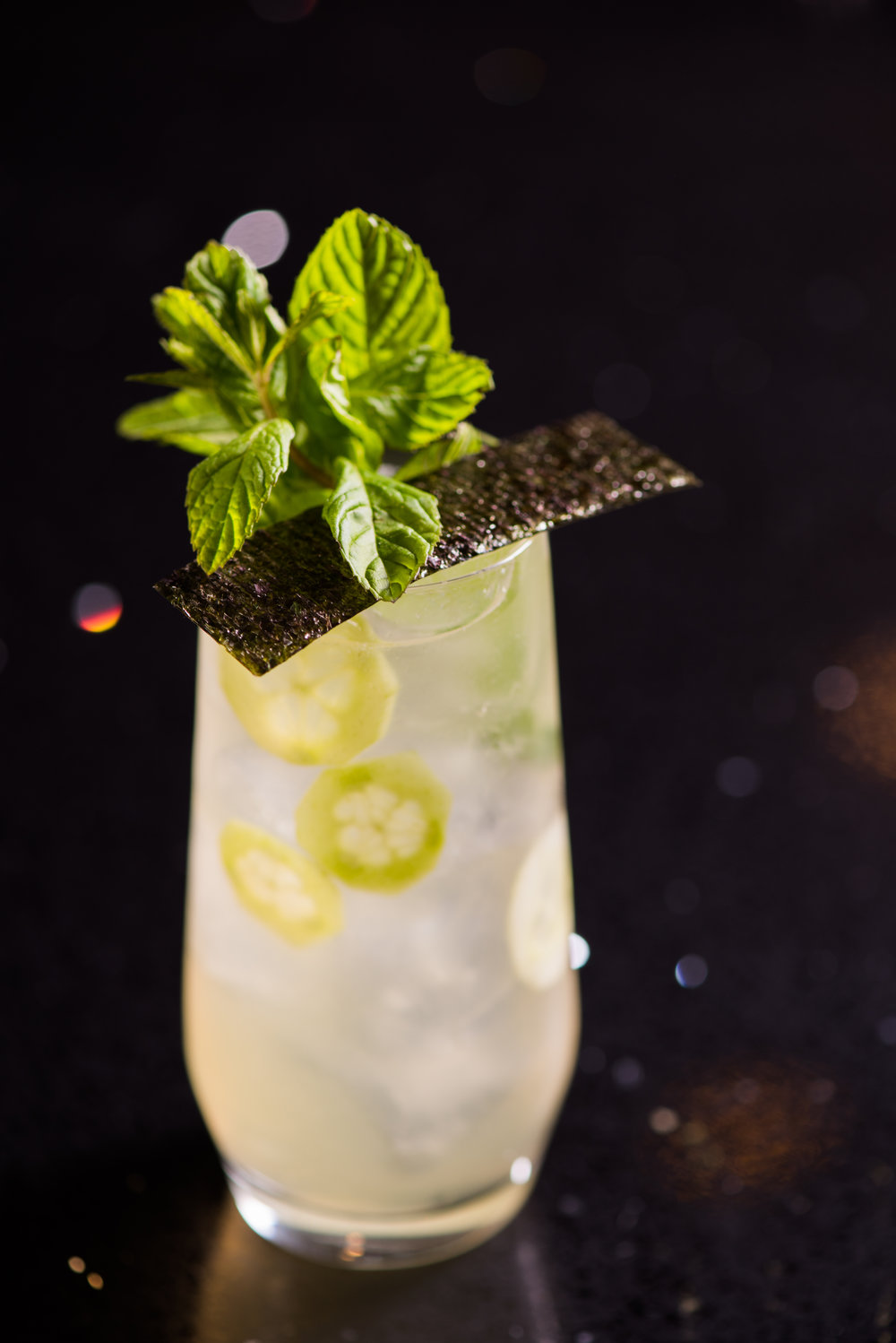 Nori & Cucumber Collins.  Photo: J. Adgeappa, Drink: U.Nijs.