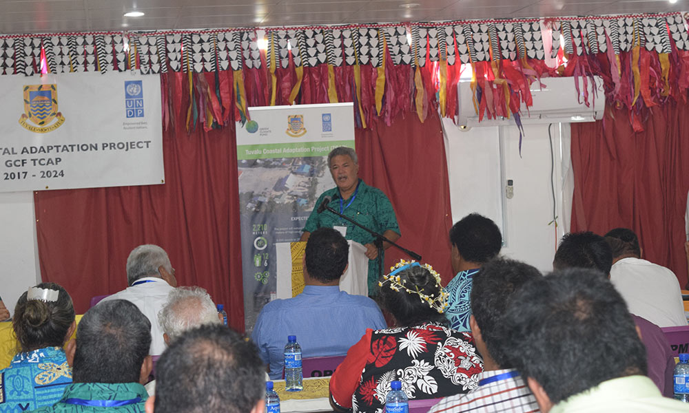 Tuvalu's Prime Minister, Enele Sopoaga, speaking at the official launch of the TCAP project, 29 August 2017. Photo: UNDP