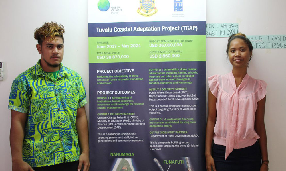 Two students from Tuvalu, Palaku Vaolilo Sakaio (left) and Tanu Sumeo have been granted university scholarships under the Tuvalu Coastal Adaptation Project. February 2018. Photo: Merana Kitione/UNDP