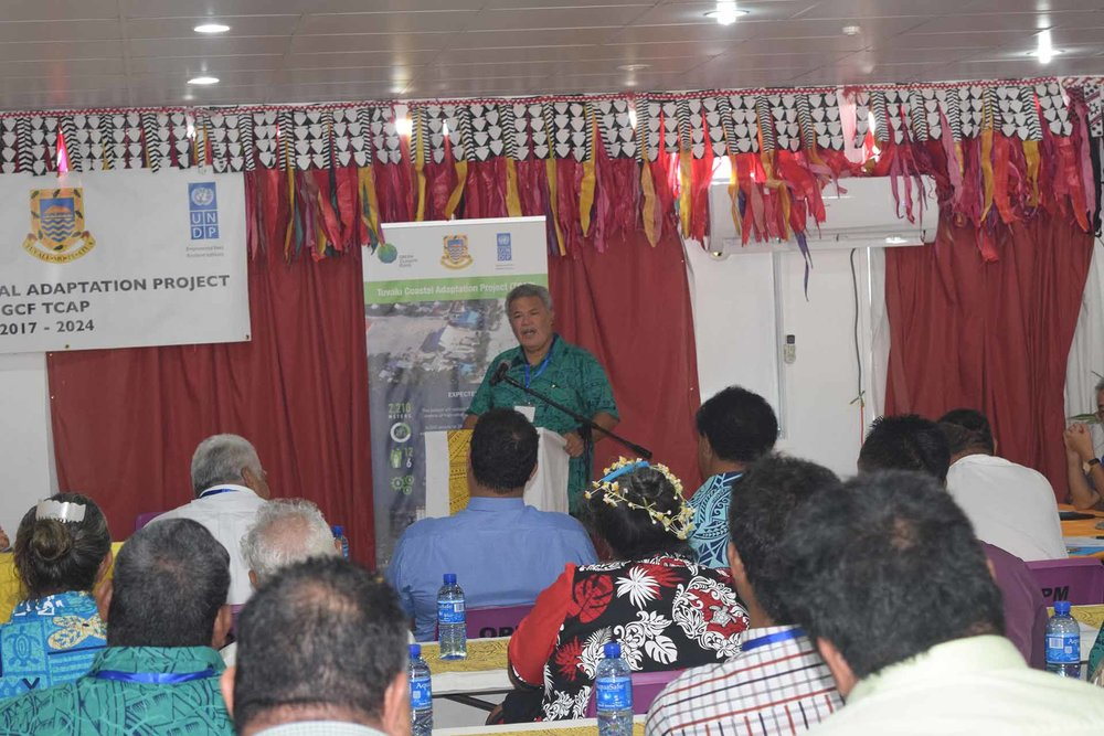 Tuvalu's Prime Minister Enele Sopoaga speaking at the official launch of the TCAP project, 29 August 2017. Photo by UNDP