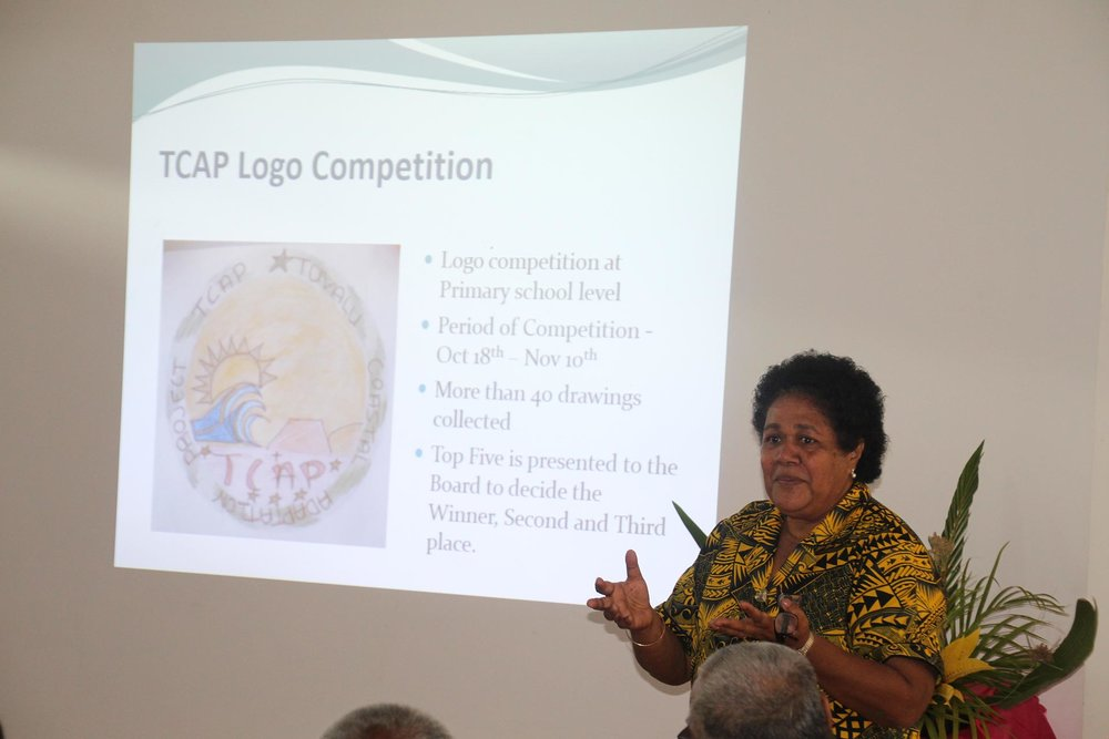"Launch of logo competition. Photo by UNDP  The Tuvalu Coastal Adaptation Project invited primary school students to design a project logo. 12-year old Ms Fogaese Lisale of Funafuti won the contest"" -- see  https://twitter.com/TCAPforTu8/status/958560191708004353"