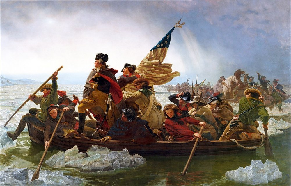 "Emanuel Gottlieb Leutze ""Washington Crossing the Delaware"" (1851) / taped paper   In January 2003, this painting was defaced while on view at the Metropolitan Museum in New York. According to reports, Robert Gray, 41—formerly with the agency that provides security to the Metropolitan and the Cloisters, and who authorities said is emotionally disturbed - glued a picture of the twin towers to the bottom of the famous Revolutionary War scene.  Gray told police he was fixated on the painting's American flag, which to him symbolized Satan. Gray had a rambling letter he wanted delivered to the United Nations in which he called himself a ""light blob induced artist.""""He feels, in essence, that terrorists are controlling him through encrypted messages,"" a law enforcement source said. ""He did say he used Elmer's glue because it's water-soluble and he didn't want to ruin the painting.""  Gray was charged with criminal mischeif; true to his intentions, the painting did not suffer any meaningful physical damage."
