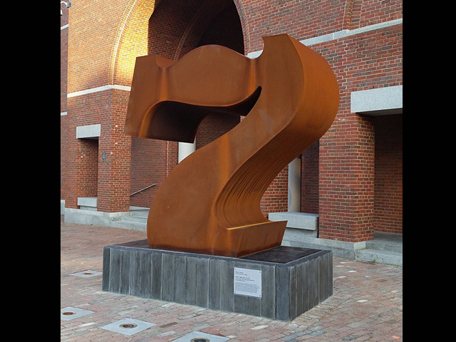 """Robert Indiana, """"Seven"""" / spray paint  On December 13, 2014, this steel statue was vandalized while on permanent display outside the Portland Museum of Art. The responsible party, still unidentified, spray painted the words """"FUCK ART"""" near the work's base. Conservators applied a solvent over several days in an attempt to remove the graffiti; it remains visible, but not noticeable without careful inspection."""