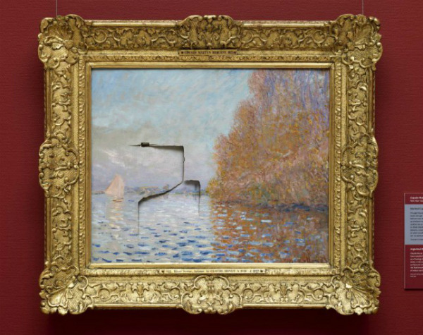 "Claude Monet ""Argenteuil Basin with a Single Sailboat"" (1874) / fist   Just before 11am on June 29, 2012, 49-year-old Andrew Shannon punched a hole through this work while it was on view at Ireland's National Gallery. Security footage of the incident shows Shannon standing in front of the painting for a moment before suddenly lunging into it fist-first. While Shannon would later claim that he had fell ill and lost his balance, Irish police claimed his act was in fact ""a bid to get back at the State."" (Upon his arrest, police also found a can of paint stripper concealed on his person.) Shannon was eventually convicted and sentenced to six years in prison, the final 15 months suspended on strict conditions which ban him from entering any public spaces that hold or display painted artworks. 18 months after the original incident, the Monet was able to be restored and put back on display."