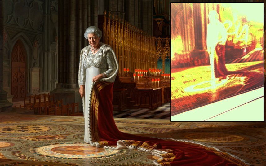 "Ralph Heimans, ""The Coronation Theatre, Westminster Abbey: A Portrait of Her Majesty Queen Elizabeth II"" (2012) / spray paint    Around noon on Thursday, June 13, 2013, a 41-year old man sprayed the word ""HELP"" onto this portrait of Queen Elizabeth II while the work was on view at Westminster Abbey. The suspect, Tim Haries, was arrested on site. Haries, a member of protest group Fathers 4 Justice, told police that he was a ""desperate dad"" who had damaged the painting in a bid to draw attention to his fight to gain access to his two children. A spokesman for Fathers 4 Justice supported the act, saying, ""Tim Haries has lost all contact with his children and felt he had nothing to lose by appealing directly to the Queen for help by spraying his plea onto her portrait. I would support this act, but it is sad that he has to take such desperate steps."" The painting, which had been commissioned to commemorate the 60th anniversary of the queen's coronation, was removed from public viewing, but museum spokespersons did not believe the damage to be irreparable.         above: Tim Haries"