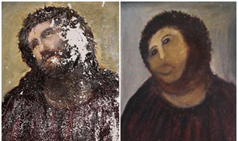 """Elias Garcia Martinez """"Ecce Homo (Behold the Man)"""" / paint  (In August 2012, an elderly parishioner made an unauthorized attempt to restore this 19th century fresco, painted onto a wall of the Sanctuary of Mercy Church in Zaragoza, Spain. The woman, in her 80s and apparently acting with good intentions, brought a set of paints to church and proceeded to """"update"""" the fresco, which had suffered extensive deterioration from moisture. Adding insult to injury, the church had plans to restore the work themselves, having recently received a donation from the painter's granddaughter.)"""